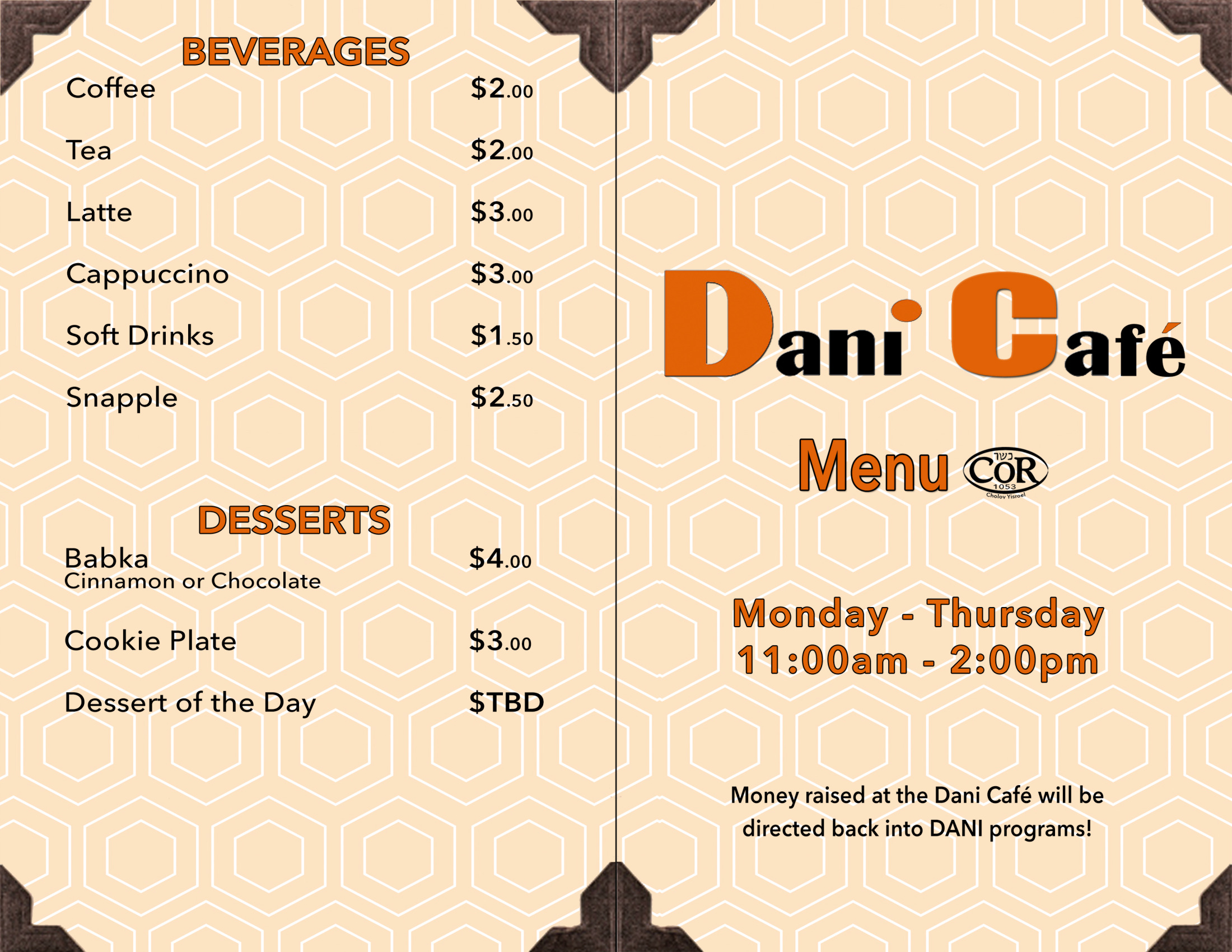 DANI - Kosher Restaurant Menu_Outside